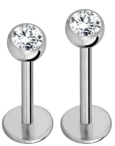 Forbidden Body Jewelry 18G 8mm & 10mm Internally Threaded Solid Titanium Tragus/Helix Earring/Labret Stud with 3mm CZ Ball Top