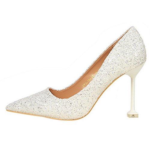 Chiusa Donna Ballet Alto Flats AgooLar Bianco Punta Pelle Tacco Smerigliato qC0nEwdn