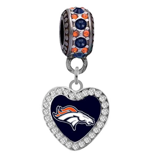 Final Touch Gifts Denver Broncos Rhinestone Heart Charm Fits European Style Large Hole Bead Bracelets - Denver Broncos Charm