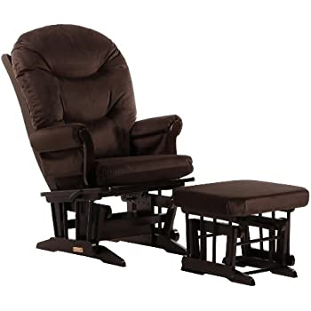 Dutailier Round Back Cushion Design Sleigh Glider Multiposition, Recline and Ottoman Combo, Brown
