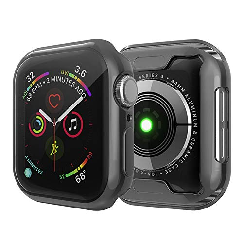 Leotop Compatible with Apple Watch Case 44mm 40mm, Soft Flexible TPU Plated Protector Bumper Shiny Cover Lightweight Thin Guard Shockproof Frame Compatible for iWatch Series 4 (Black, 40mm)