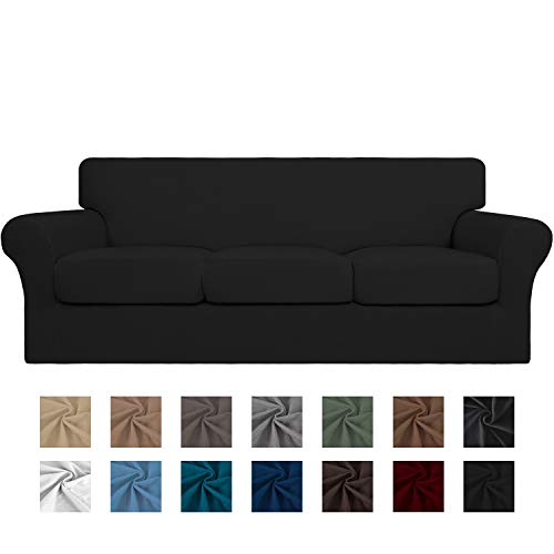 Easy-Going 4 Pieces Stretch Soft Couch Cover for Dogs - Washable Sofa Slipcover for 3 Separate Cushion Couch - Elastic Furniture Protector for Pets, Kids(Sofa,Black)
