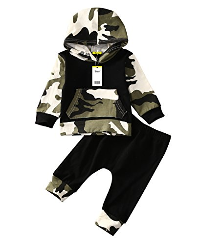 Moore Infant Baby Boys Camouflage Hoodie Tops +Long Pants Outfits Set Clothes