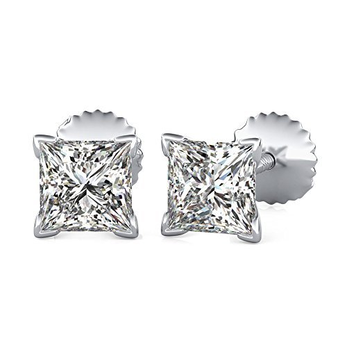 14K White Gold Princess Cut Forever One Moissanite V Prong Martini Style Earrings, Bridal, Wedding, Anniversary, Solitaire, Gift 0.82ctw