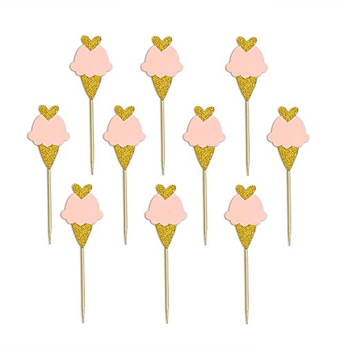 Summer Cool Ice Cream Cake Cupcake Toppers Picks for Wedding Birthday Baby Shower Kids' Party Summer Themed Party Decorations 20 PCS ()