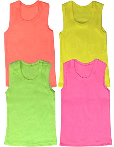(ToBeInStyle Girls' 4 Pack Ribbed Tank Tops - Neon - Size 1)