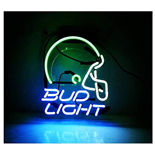 Neon Sign Helmet Shaped Neon Bud Light Wall Decorative Signs Handmade Glass Night Light for Bar Store Kids Bedroom Decor 10″ x 8″ Blue