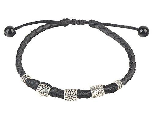 - Ancient Tribe Handmade Adjustable Black Leather Anklet (5#)