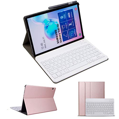 for Samsung Galaxy Tab S6 Lite 10.4 2020 SM-P610/P615 Keyboard Case, Slim Folio Cover Removable Detachable Wireless Bluetooth Keyboard for Tab S6 Lite 10.4 inch (Rose Gold)