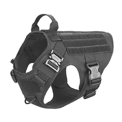 ICEFANG Large Dog Tactical Harness,Military K9 Working Dog Molle Vest,No Pulling Front Clip,Tracking Trailing Clip,Metal Buckle Easy Put On Off (L (28