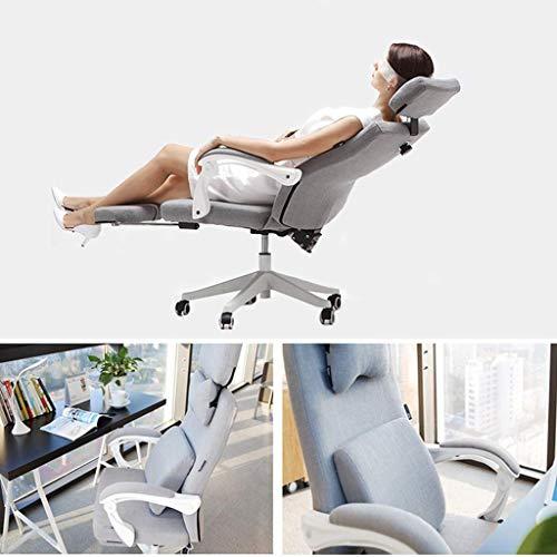 Kontorsstol, andningsbar bomull och linne ergonomisk svängbar stol som vilar roterbar lyftande hopfällbar chef dator skrivbordsstol