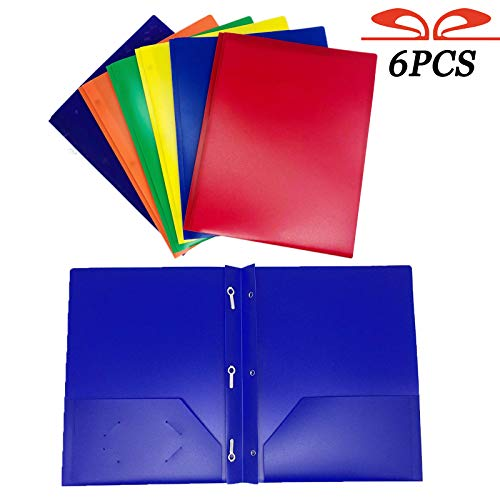 GIFTEXPRESS Pack of 6, Assorted Solid Color 3-Prong Poly Portfolio with 2 Pockets, Two Pocket Poly File Folder, 3 Hole Plastic Folder-Strong and Durable Plastic (Poly 3 Prong 2 Pocket Folders)