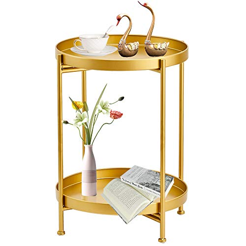 Gold Side Table, Metal Gold Modern Nightstand, Small Round Table Metal Tray Side Table for Living Room Bedroom Kitchen Dining Room Game and Recreation Room