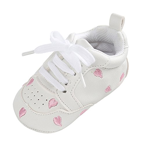 Annnowl Baby Girls Sneakers Infants Soft Sole Crib Shoes (0-6 Months, White Pink)