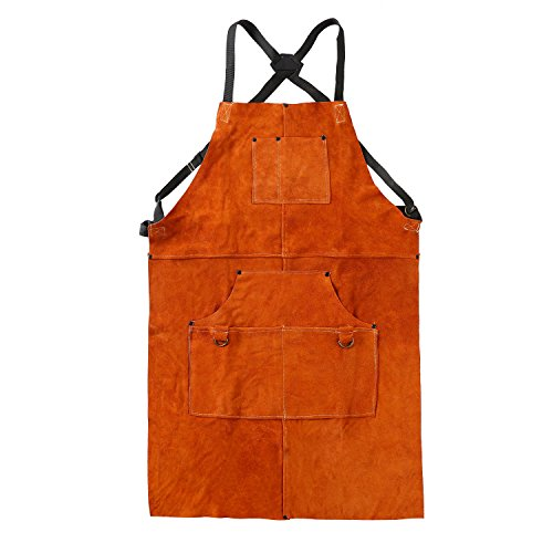 QeeLink Leather Work Apron - Heat & Flame-Resistant Heavy Duty Shop Apron with 6 Tool Pockets, 24'' x 36'', Adjustable up to XXL for Men & Women (Brown) by QeeLink