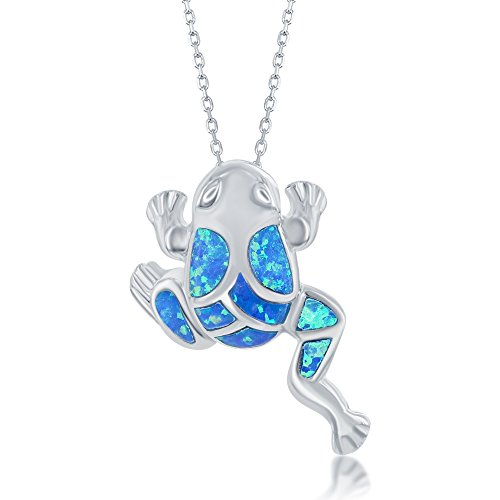Beaux Bijoux Sterling Silver Blue Created Opal Frog Pendant with 18