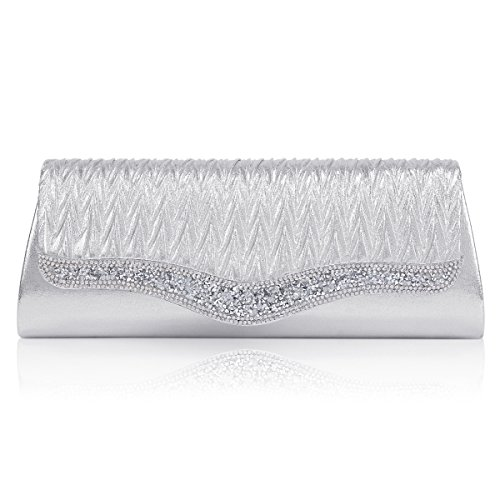 Crystals Evening Bag Crossbody Damara Flap Womens Silver Sparking Prom AvqxEFpw