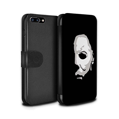 STUFF4 PU Leather Wallet Flip Case/Cover for Apple iPhone 8 Plus/Michael Myers Inspired Art Design/Horror Movie Art -
