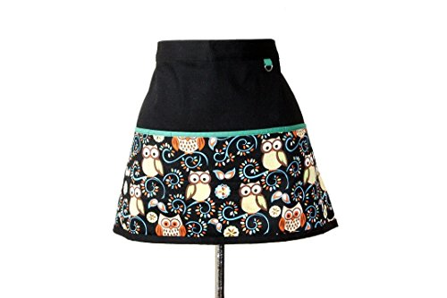 Cleeyn Little Owl Teacher's Apron, Craft Apron, Utility Waist Apron in Black