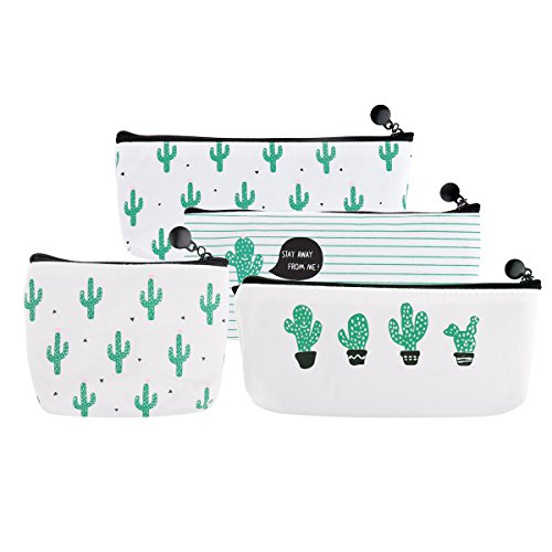 Spring Coin Set - 3 Set Cactus Pastoral Bandage Canvas Pencil Case with a Coin Purse,Ecjiuyi Pen Pouch Stationary Case Makeup Cosmetic Bag For College School Office Business Work