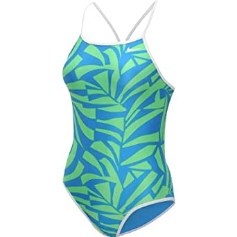 NIKE Women's Graphic Leaf Lingerie Tank Reversible One-Piece Swimsuit - Size: 36, Blue