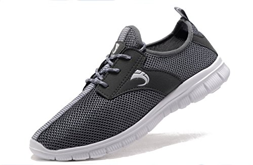 - VIPMY Men's Walking Shoes Lightweight Sneakers Mesh Breathable Running Shoes Casual Athletic Fitness Shoes (44 M EU / 10 D(M) US, Grey)