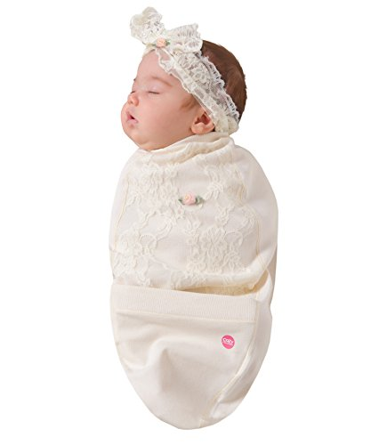 Cozy Cocoon Baby Cocoon Swaddle and Matching Headband, Blossoms & Lace, 0-3 - Cocoon Baby