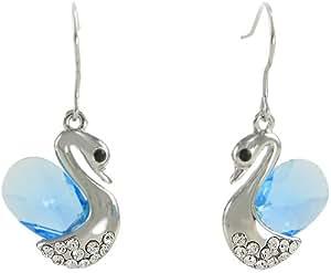 Arco Iris Jewelry - Pendientes en forma de cisne hecho con cristal austriaco, color azul