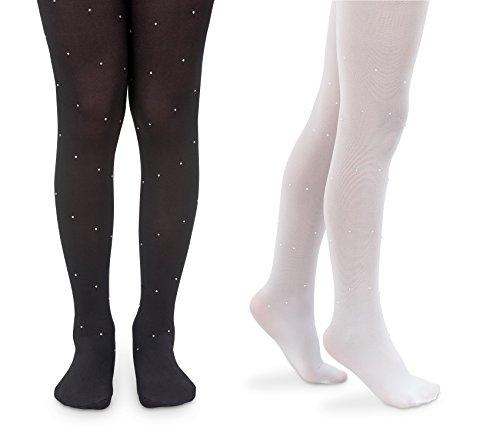 Jefferies Socks Girls Dress Ballet Pearl and Diamond Design Nylon Tights 2 Pair Pack (4-6 Years, Black Diamond/White -