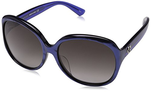 Gucci Design Sunglasses GG0080SK 005 Gradient Shiny Pearled Blue Transparent Frame With Gradient Grey Lens