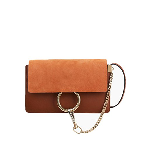 Magnetic Front Flap (Small Suede and Leather Shoulder Bag Faux Leather Front Flap Cross body Bag for Women)