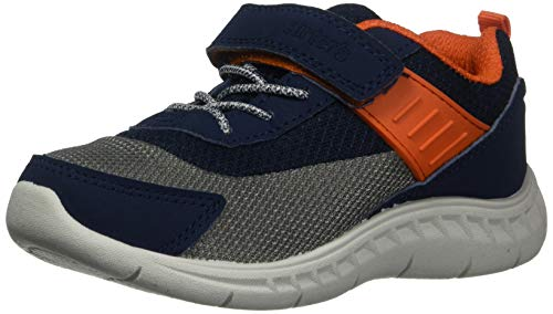 carter's Boy's Neo Athletic Heather Mesh Sneaker with Adjustable Strap, Navy/Orange, 9 M US Toddler