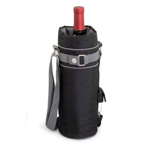 (LEGACY - a Picnic Time Brand Single Insulated Wine Tote, Black/Gray)