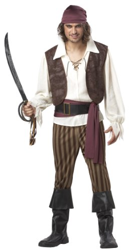California Costumes Men's Rogue Pirate Costume,Brown,X-Large - Pirate Vest Male
