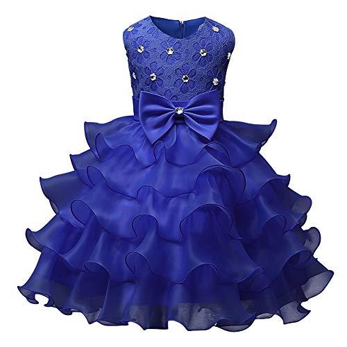 Fosheng Pageant Party Dress for Girls Kids - Beaded Children Princess Costume Dark Blue ()