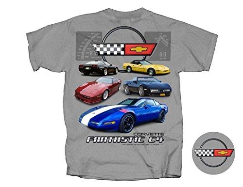 Fantastic C4 Corvette T-Shirt Gray X-Large