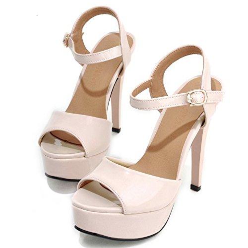 Peep Heel Toe Sandals Pink High LongFengMa Slingback Sexy Platform Women's 7twBZBcaqY