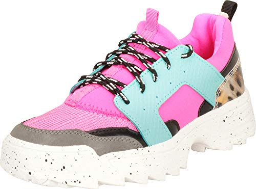 Cambridge Select Women's Low Top Retro 90s Ugly Dad Colorblock Ridged Chunky Platform Fashion Sneaker,7 B(M) US,Fuchsia/Green