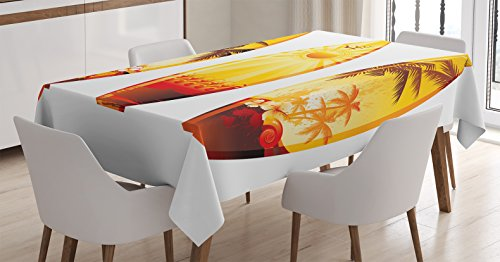 Amazon Com Ambesonne Surfboard Decor Tablecloth Colorful