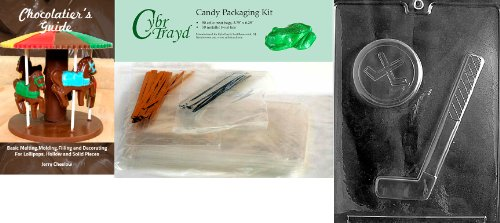 Cybrtrayd Hockey Stick and Puck Chocolate Mold with Chocolatier's Bundle, Includes 50 Cello Bags, 25 Gold and 25 Silver Twist Ties and Chocolatier's (Silver Sticks Hockey)