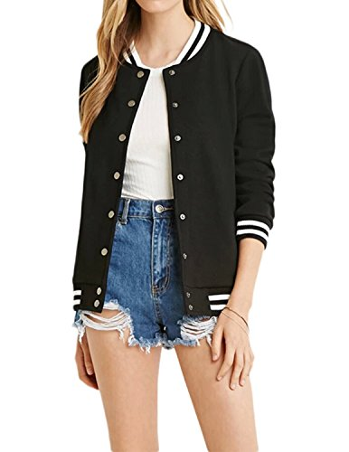 Review HaoDuoYi Women's Varsity Ribbed Color Block Long Sleeve Baseball Bomber Jacket(XL,Black)