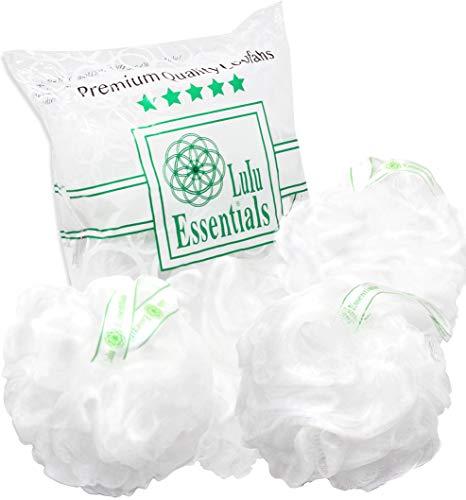 (Lulu Essentials Premium Quality White Loofah (4 pack) Bath and Shower Sponge, Mesh Pouf Body Loofah, Scrubber Puff (white))