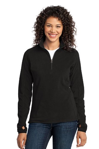 Port Authority Women's Microfleece 1/2 Zip Pullover L Black ()