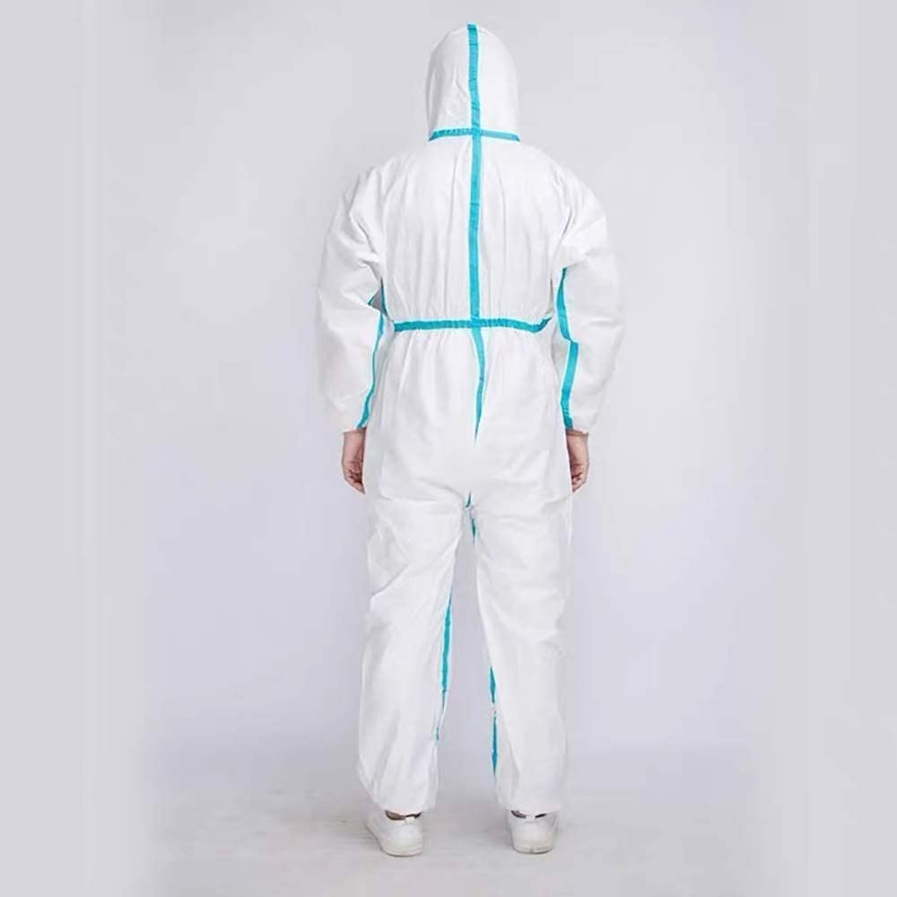 L Protective Medical Coverall Disposable Coverall Heavy Duty and Breathable Non-Woven Unisex Full Sizes Hooded with Elastic Wrist and Ankles White/…