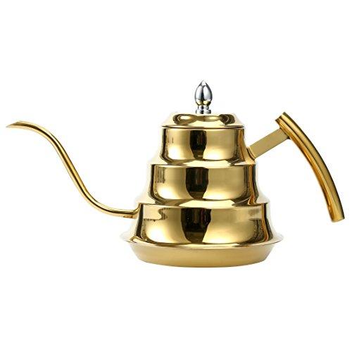 YaeKoo 1.2L Stainless Steel Coffee Drip Kettle,Gooseneck Stainless Steel Drip Pot for Coffee & Tea (Gold)