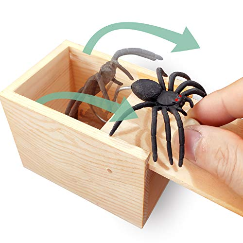 Spider In The Toilet (AHCAI GIIOASA Rubber Spider Prank Box,Handcrafted Wooden Prank Box, Spider in Box Prank Hilarious Box Surprise Toy and Gag Gift Practical)
