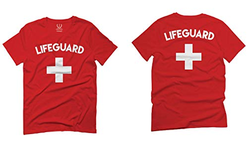 Lifeguard Costume Red Uniform Guard for Men T Shirt (Red, Small)