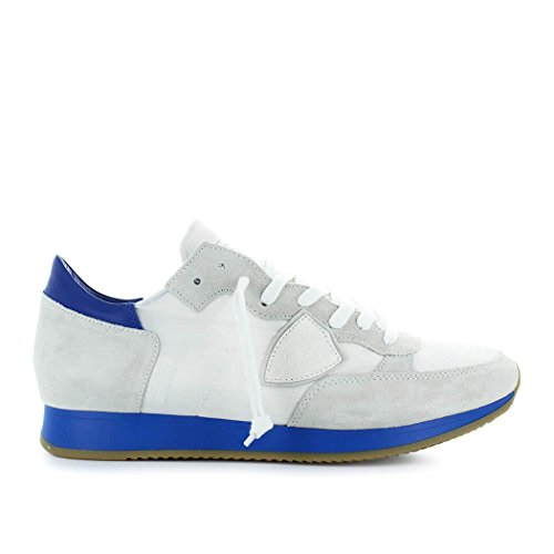 Philippe Model Mens Shoes - Philippe Model Men's Shoes Tropez Neon White/Blue Sneaker Spring Summer 2018