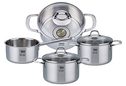 ELO Premium Silicano Plus Stainless Steel Kitchen Induction Cookware Pots and Pans Set with Oil Measuring System, Shock Resistant Glass Lids and Copper Core, 7-Piece