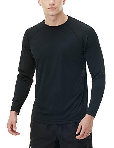 Tesla TM-MSS03-BLK_Small Men's UPF 50+Swim Shirt Loose-Fit Swim Long Sleeve Tee Rashguard Top MSS03 (Adult Tee Shirts Swim)
